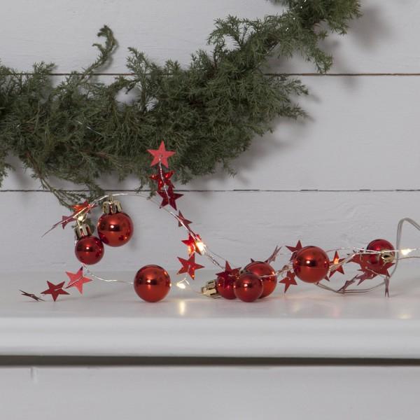 "LED-Lichterkette ""Xmas"" - 10 warmweiße LED - rote Kugeln und Sterne - 0,9m - Batterie - Timer"