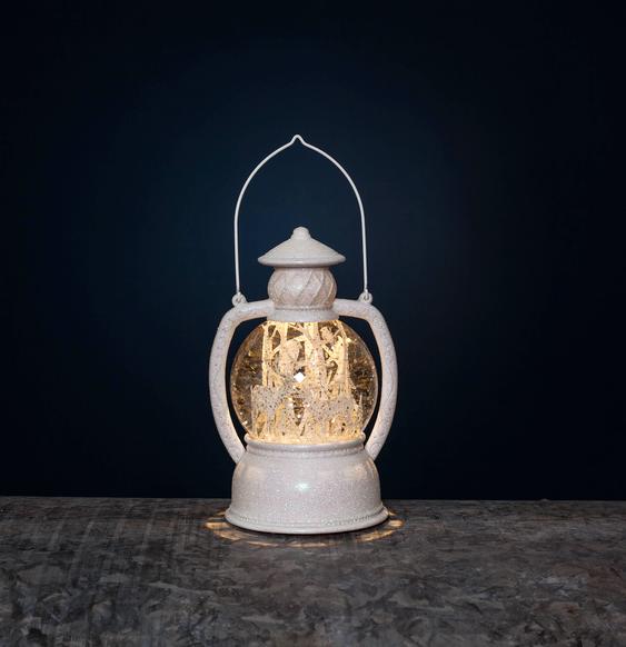 """LED-Laterne """"Winter"""" mit Schneekugel - warmweiße LED - H: 20cm - Automatik Timer - weiß/Glitzer"""