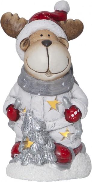 "LED-Keramik-Figur ""Friends"" - Rentier - rot/weiss/silber/grau - 1 warmweiße LED - ↑15cm"