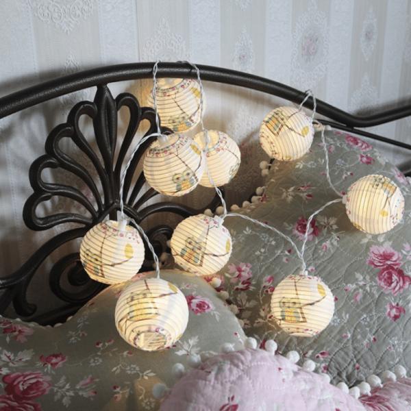 """LED Ball Lichterkette """"Eule"""" - 10 warmweiße LED - 1,8m - Batteriebetrieb - Timer - weiß"""