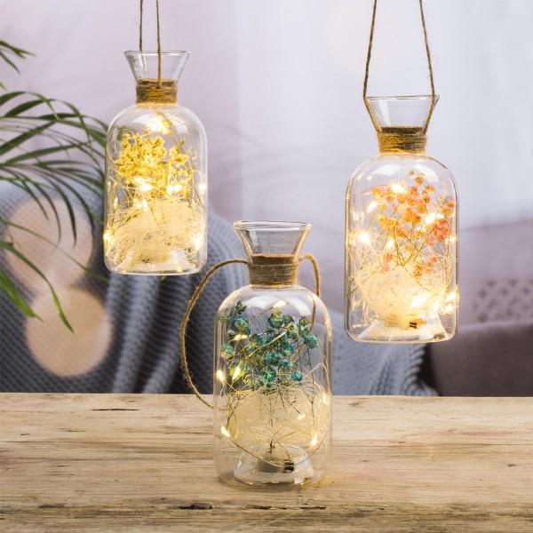 LED Dekoglas mit Trockenblumen - 8 warmweiße LED - H: 15cm, D: 7cm - zum Aufhängen - rosa