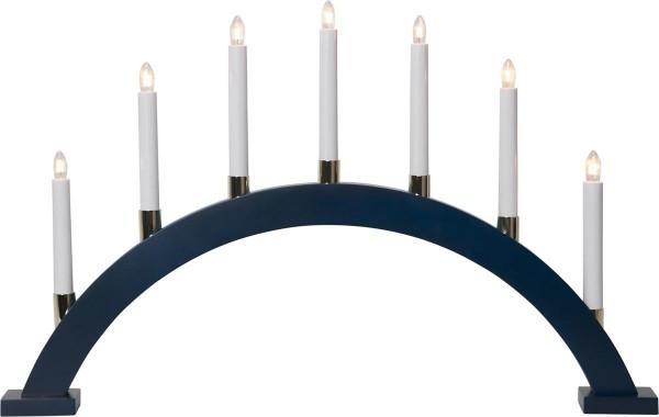 Lichterbogen GILLIAN - 7 warmweiße Glühlampen - L: 63cm, H: 40cm - Holz - Schalter - Blau