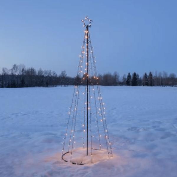 "LED-Lichterbaum ""Light Tree"" - 170 warmweiße LED - 17 funkelnde LED - H. 210cm - outdoor - schwarz"