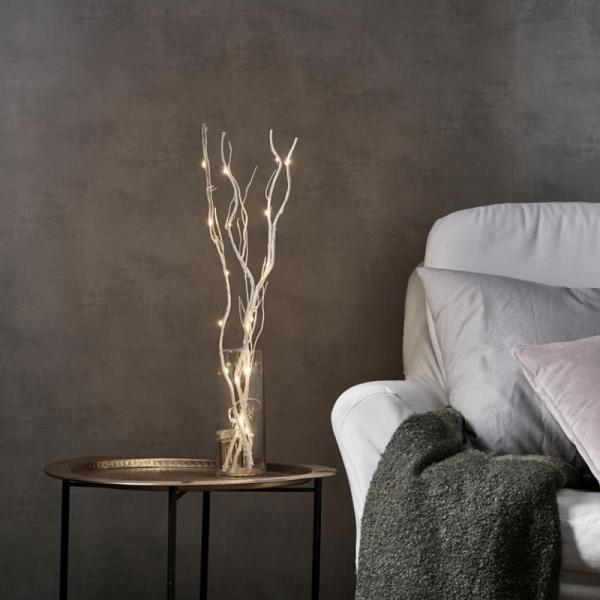 """LED Leuchtzweig """"Willow"""" - naturfarbene Weide - 16 warmweiße LED - H: 60cm - Batteriebetrieb - Timer"""