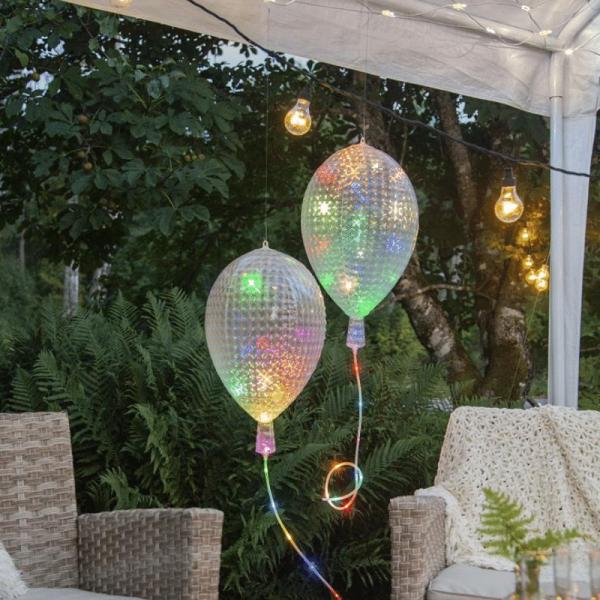 "LED Partylicht ""Ballon"" - 55x32x32cm - 30 bunte, blinkende RGB LEDs - Batterie - Timer - outdoor"
