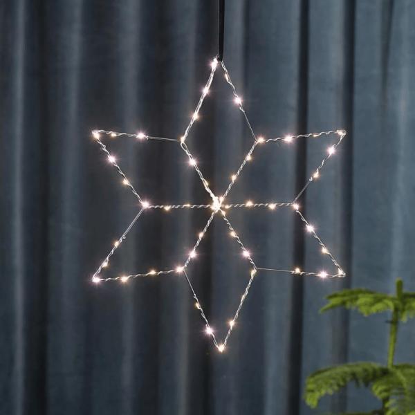 "LED Metallstern ""Lolly - hängend - 54 hellweiße LEDs - H: 45cm, B: 40cm - silber"