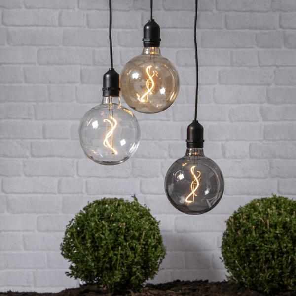"""Glaskugel/Dekoleuchte """"Bowl"""" - warmweiße Filament LED - D: 12,5cm - Batterie - Timer - amber"""