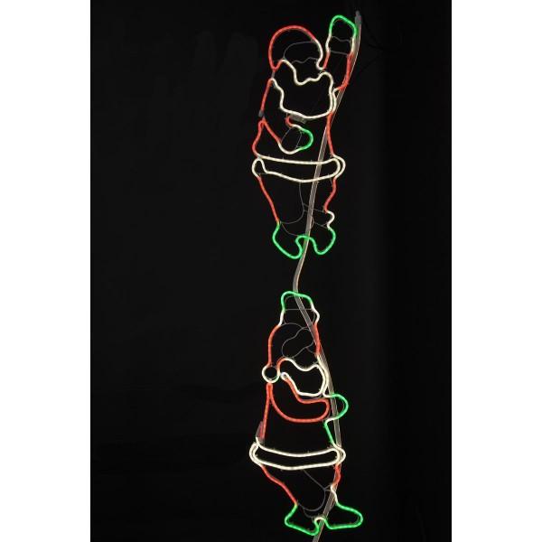 "LED-Silhouette ""Neoled"" kletternde Santas - 600 bunte LEDs - blinkende - Outdoor Figur für Fassaden"