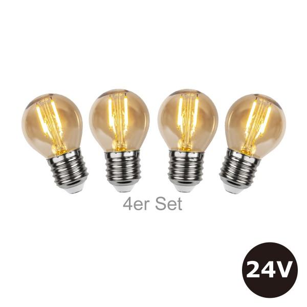4er Set - 24V Leuchtmittel für SYSTEM 24 Lichterketten - 4,5cm - amber - 28lm - 2500K - E27 Sockel