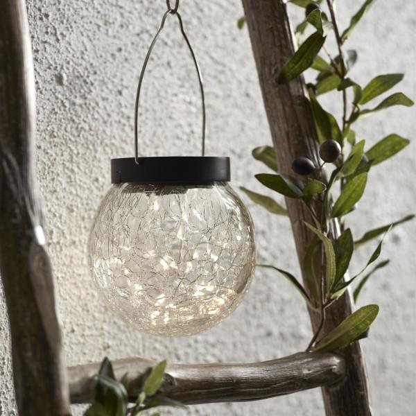 LED Solar Glas GLORY - transparentes Bruchglas - 30 warmweise LED - D: 12cm - Dämmerungssensor.