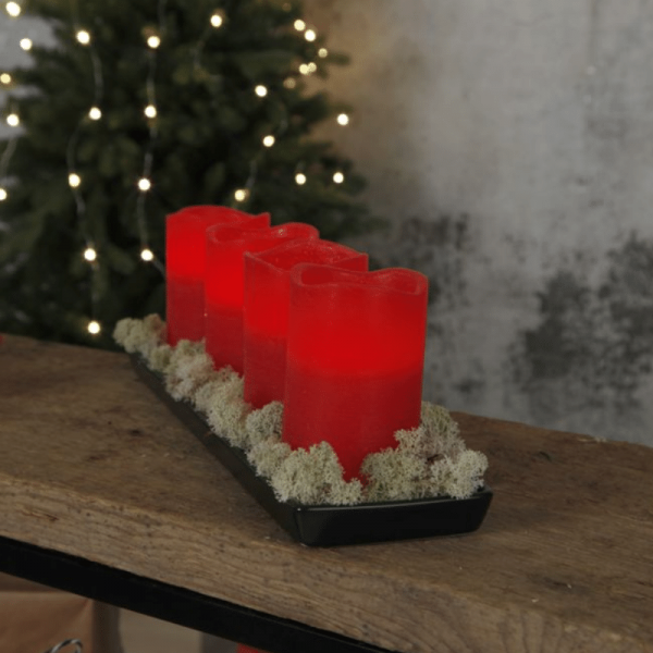 LED-Kerze   Echtwachs   May   flackernde LED   Timer   4er Set   Rot