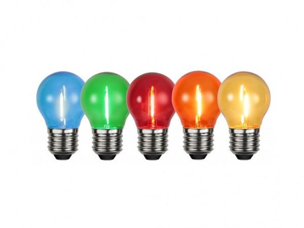 5x Leuchtmittel | LED | E27 | 1W | 0,7-0,9W | Set mit klaren Lampen | Rot/Grün/Blau/Gelb/Orange