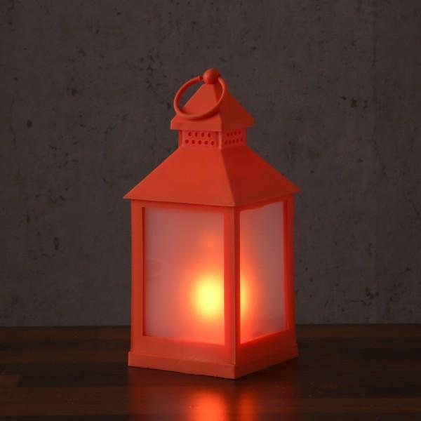 LED Laterne - mit Flammeneffekt - flackernde LED - H: 24cm - Batteriebetrieb - orange