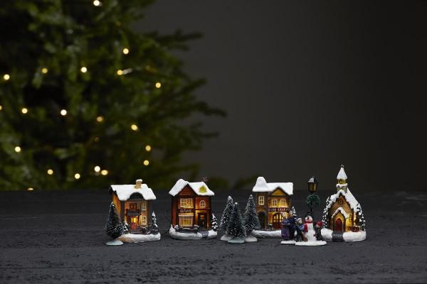"""11er Set LED-Häuser """"Birmingham"""" - 4 bunte Häuser, 2 Figuren, 1 Laterne, 4 Bäume, mit Lichterkette"""