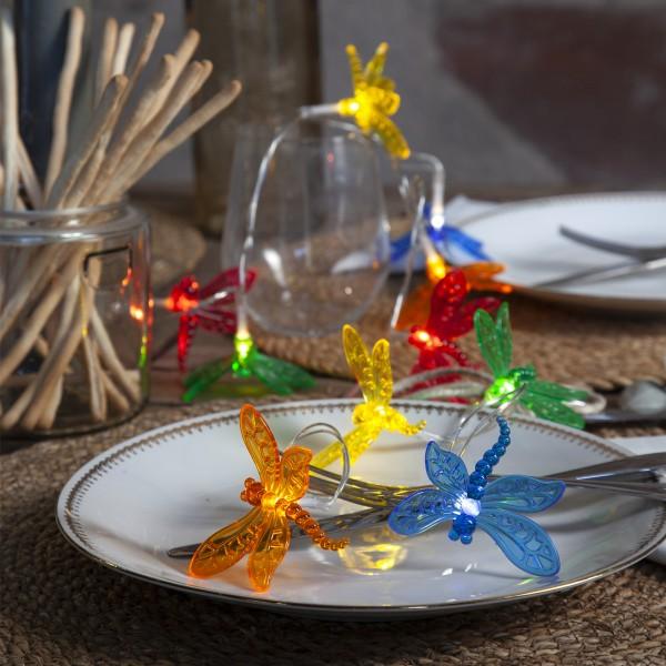 "LED Lichterkette ""Libelle"" - 10 farbige Libellen - warmweiße LED - L: 1,35m - Batterie - Timer"