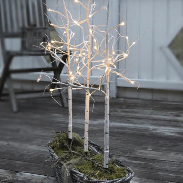 3er Set LED-Lichtbäume - 48 warmweiße LED - H: 75cm - ganzjährige Gartendekoration - weiß