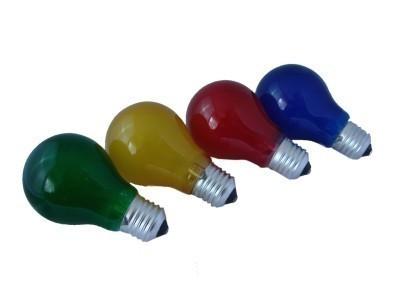 4er Set Partylampen - E27 - 230V - gefrostetes Glas - Rot/Grün/Blau/Gelb