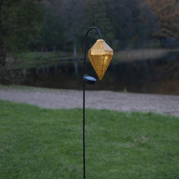 "LED-Solar-Laterne ""Bolilla"" - gold - mit weißer LED - H: 80cm - Dämmerungssensor"