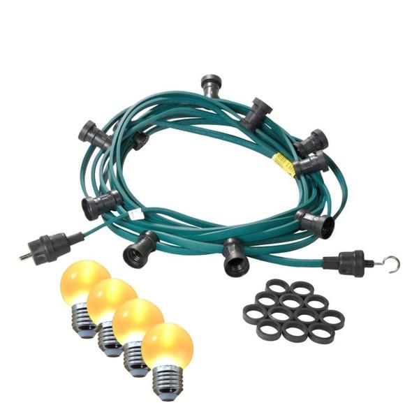 Illu-/Partylichterkette 10m | Außenlichterkette | Made in Germany | 10 x ultra-warmweisse LED Kugeln