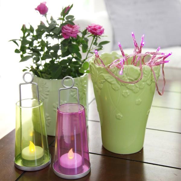 LED Lichterkette TRENDLITES - 15 pinke LED - L: 2,1m - Batterie - Timer - pinkes Kabel - indoor