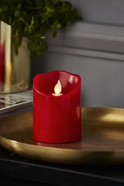 LED Stumpenkerze TWINKLE, rot - H: 10cm - D: 7,5cm - Timer - bewegte, warmweiße LED Flamme