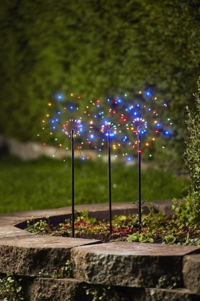"""LED Stäbe 3er Set """"Firework"""" - 0,65m - schwarz - je 60 bunte LEDs - inkl. Outdoor Trafo"""