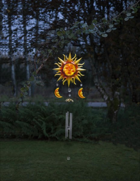 "LED-Solar-Windspiel ""Windy""- rot/gelb - weiße LED - 95x29x8cm - Dämmerungssensor"