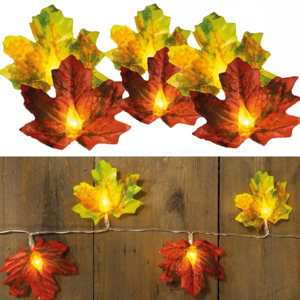 LED Lichterkette Herbstblätter - 10 warmweiße LED - Kunststoff - L: 0,9m - Batteriebetrieb - rot/gel