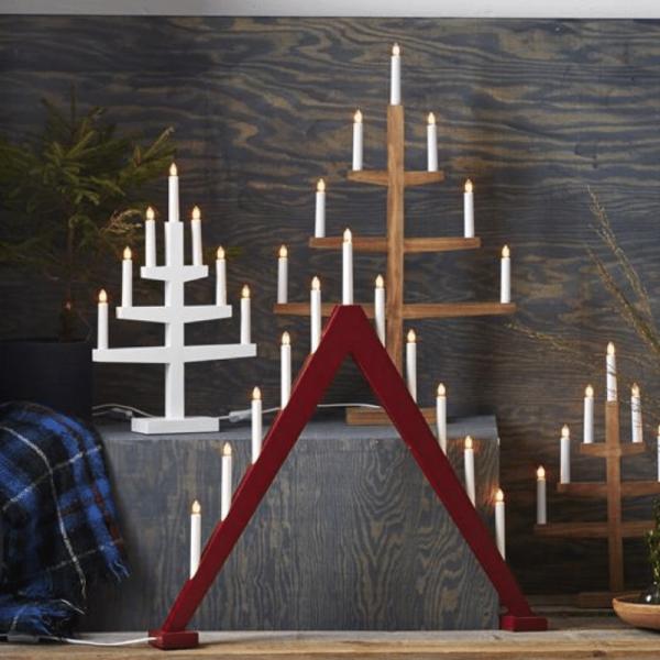 Fensterleuchter Trill - 11 warmweiße Glühlampen - L: 78cm, H: 79cm - Holz - Schalter - Rot