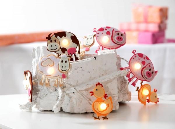 """LED-Kinderlichterkette """"Farm"""" - 8 bunte Tierchen mit warmweißer LED - 1,4m - Batterie - Timer"""