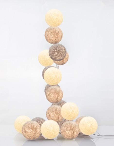 good moods* TILA 35 - Ball-Lichterkette mit 35 Stoffkugeln - 35 warmweiße LEDs - Geschenkkarton