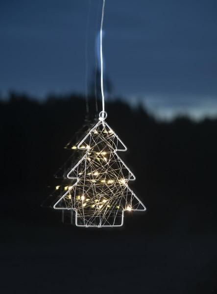 """LED-Leuchtbaum """"Whirl"""" Fensterdeko mit Saugnapf- 12 warmweiße LED - silber - Metall - 20x17cm"""