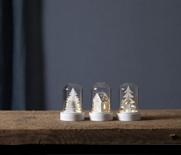 Kuppelglas LED - 3er Set - Holzdekoration in weiß - warmweiße LED - H: 8,5cm