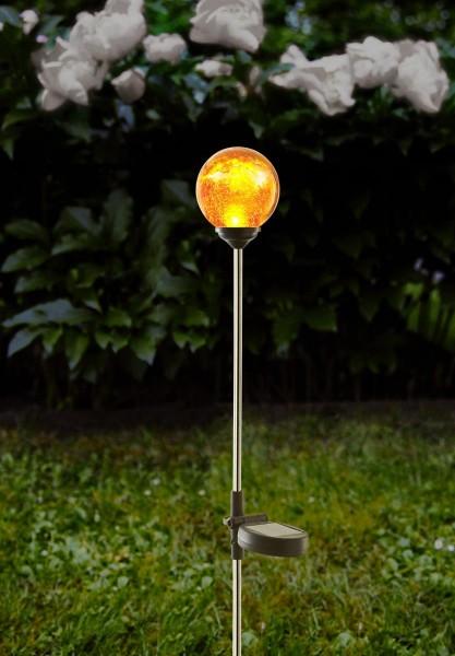 """LED-Solarstab """"Sphere""""- Edelstahl - amber Glas - amber LED - H: 68cm - D: 7,8cm - Dämmerungssensor"""