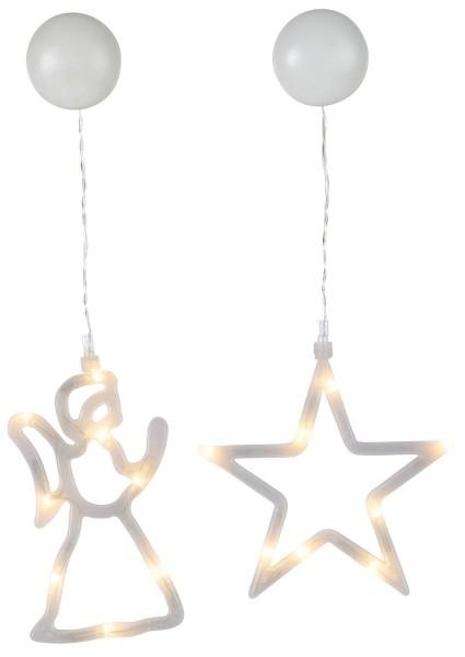 LED-Fensterdeko mit Saugnapf - Stern und Engel - 2er Set - je 8 warmweiße LED - Batterie