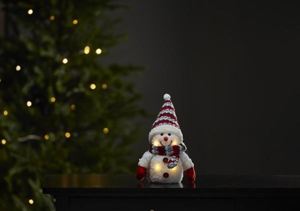 "LED-Stoff-Figur ""Joylight"" - Schneemann - rote Mütze & Schal - 4 warmweiße LEDs - ↑25cm"