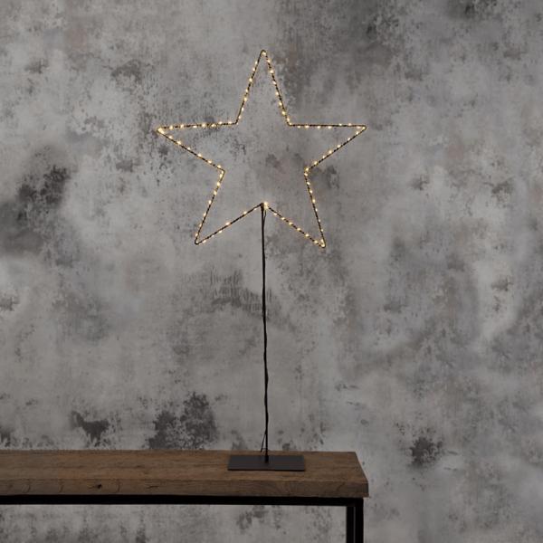 """LED-Metallstern """"Mira"""" - stehend - 80 warmweiße LEDs - Ø 70cm - schwarz"""