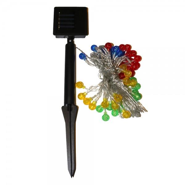 LED Solar Lichterkette mit 50 mini Lampions - Dämmerungsschalter - 5m - Erdspiess