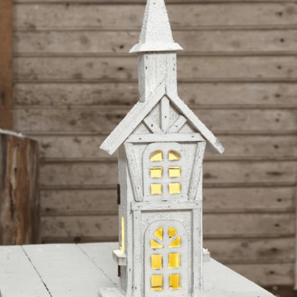 """LED-Leuchthaus """"Woodland"""" - 5 warmweiße LED - Batteriebetrieb - Timer - H: 38cm, L: 14cm - weiß"""