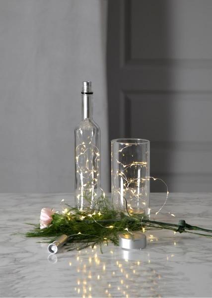 Lichterkette - LED Flexi - Indoor - 0,75m - 15 x Warmweiß - Flexibler Draht - Mit Flaschenhalterung