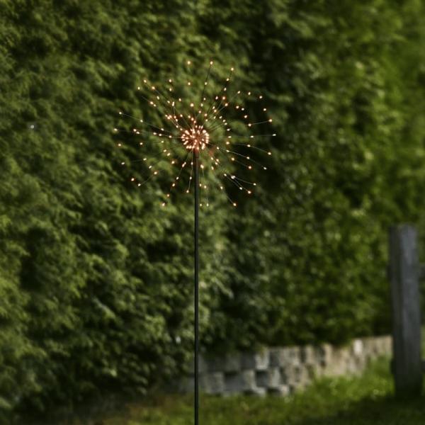 "LED Dekostab ""Firework"" - H: 110cm - 160 kleine warmweiße LED - inkl. Trafo - outdoor - schwarz"