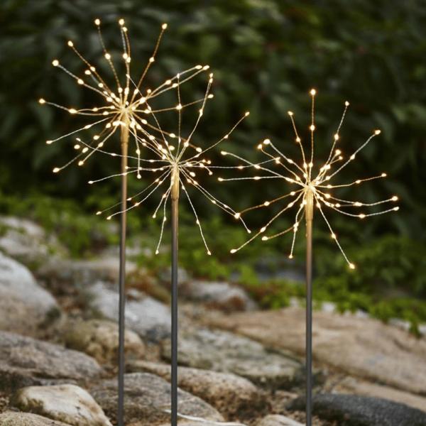"LED Dekostäbe ""Firework"" - H: 65cm - je 60 daylight LED - inkl. Trafo - outdoor - silber - 3er Set"