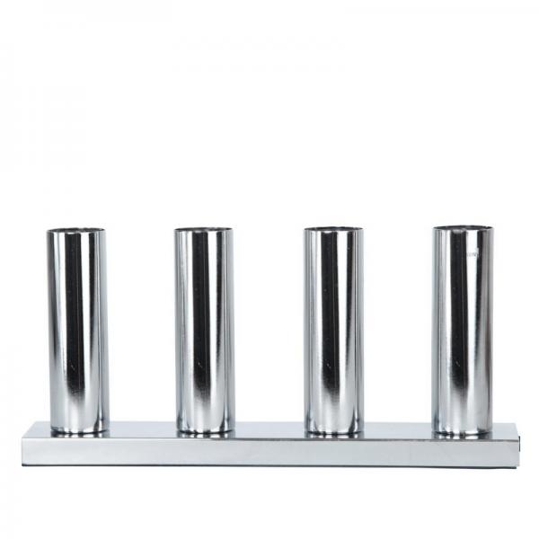 "LED Tischleuchte - Standleuchte ""Glans"" - 4x E27 Fassung - H: 17cm, L: 36,5cm - silber"