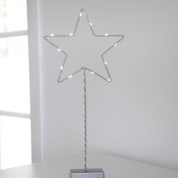 "LED-Standleuchte ""Drahtstern"" -12 warmeiße LED - H: 43cm - Metall - Batteriebetrieb - silber"