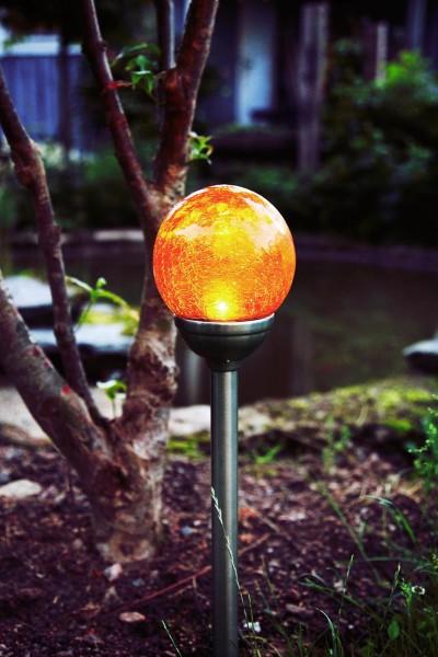 Solarkugel ROMA amber - Gartenleuchte mit Solarpanel H: 45cm - Dämmerungssensor