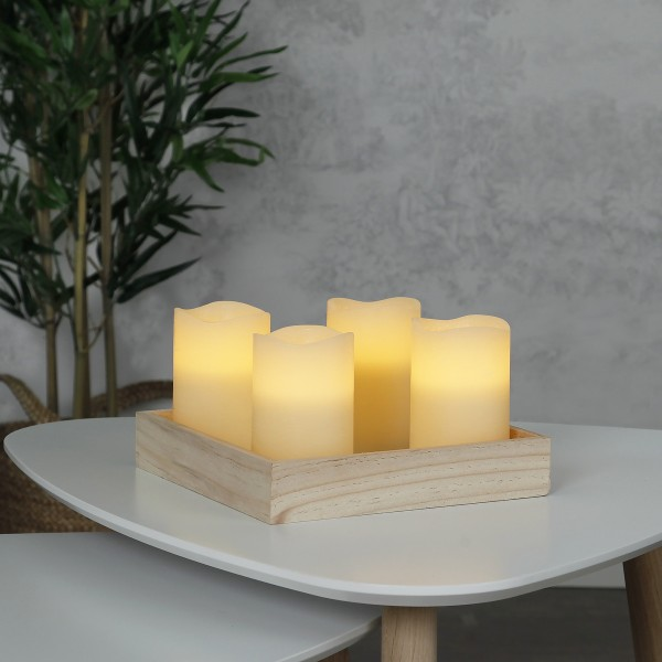LED Kerzenset MAY - Echtwachs - flackernde LED - Timer - H: 12,5cm, D: 7,5cm - creme - 4er Set