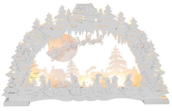 """LED-Fensterleuchter """"Erding"""" - Santa im Schlitten - 10 warmweiße LED - Batteriebetrieb - weiß"""