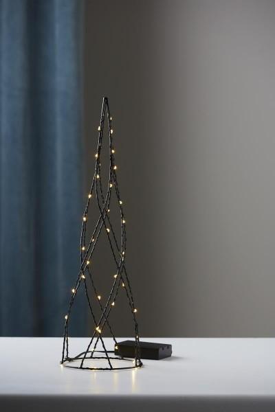 "LED-Deko-Kegel ""Helix"" - 42 warmweiße LEDs - H: 40cm - Batteriebetrieb - Metall - Timer - schwarz"