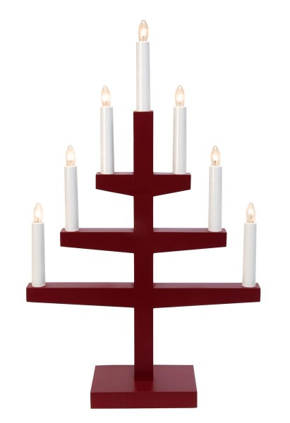 """Kerzenleuchter """"Trapp"""" - 7 Arme - warmweiße Glühlampen - H: 54cm, L: 34cm  - Schalter - Rot"""