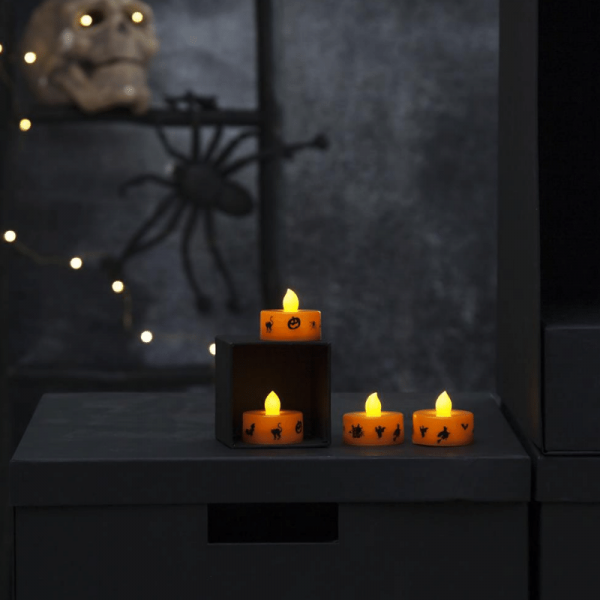"LED Teelichter ""Halloween"" - gelbe Flamme - H: 3cm - D: 4cm - Batteriebetrieb - orange - 4er Set"